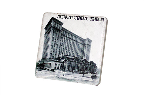 Historic Michigan Central Station Black & White Porcelain Tile Coaster - Pure Detroit