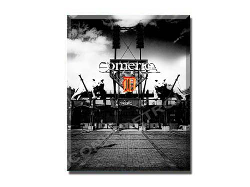 Comerica Park Gates Black & White 11 x 14 Woodblock Print