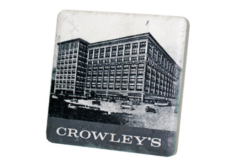 Historic Crowley's Black & White Porcelain Tile Coaster - Pure Detroit