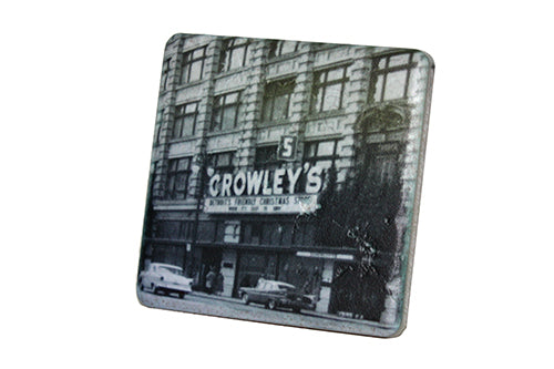 Historic Crowley's on Woodward Black & White Porcelain Tile Coaster - Pure Detroit