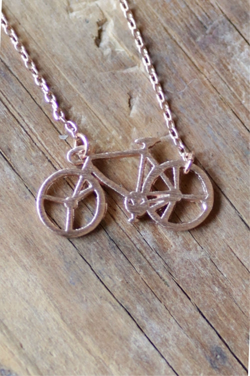 Dainty Detroit Bicycle Necklace / Rose Gold - Pure Detroit