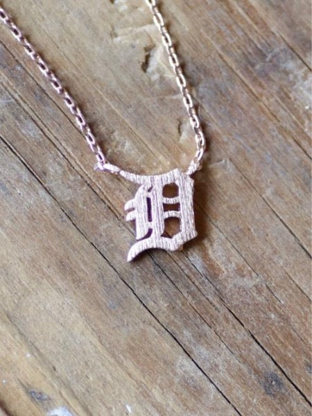 Dainty Detroit D Necklace / Rose Gold - Pure Detroit