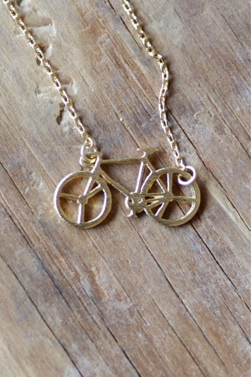 Dainty Detroit Bicycle Necklace / Gold - Pure Detroit