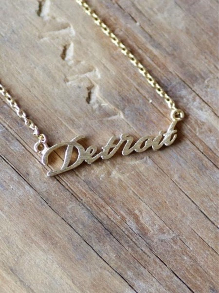 Dainty Detroit Script Necklace / Gold - Pure Detroit