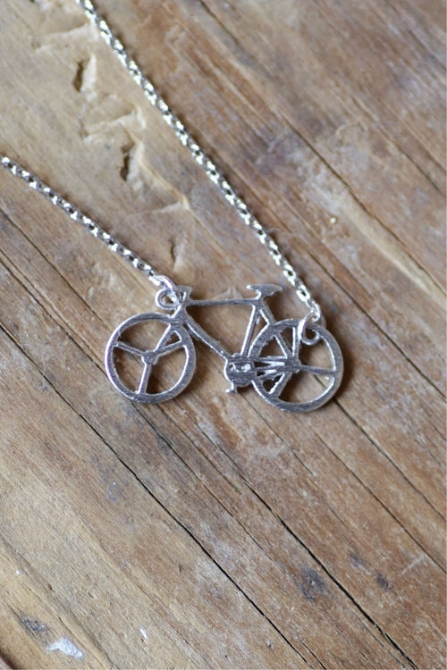 Dainty Detroit Bicycle Necklace / Silver