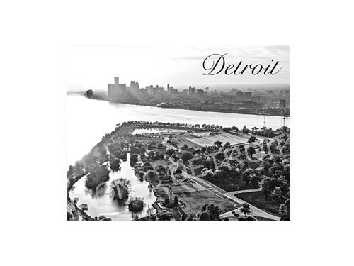 Detroit Belle Isle Aerial Black & White Luster or Canvas Print $35 - $430