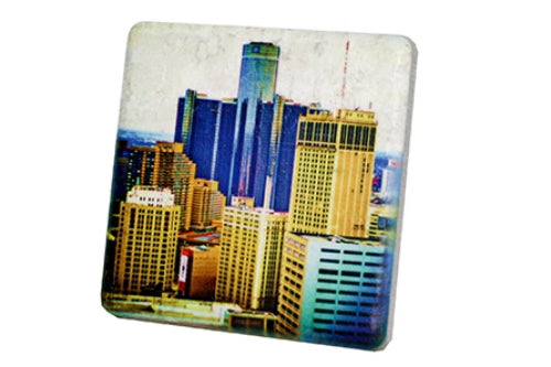Detroit City View Porcelain Tile Coaster - Pure Detroit