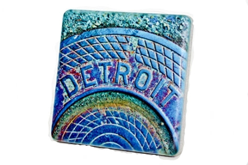 Detroit Manhole Blue Steam Porcelain Tile Coaster - Pure Detroit