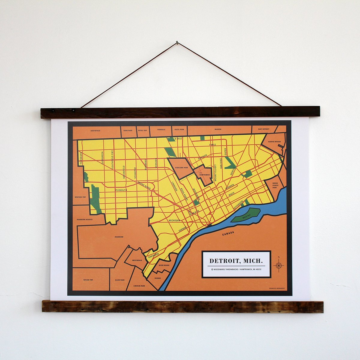 "Detroit Map 24"" x 18.75"" Print with 24"" Reclaimed Wood Poster Holder"