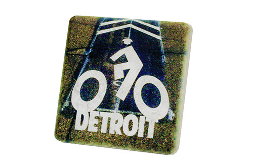 Bike Detroit Porcelain Tile Coaster - Pure Detroit