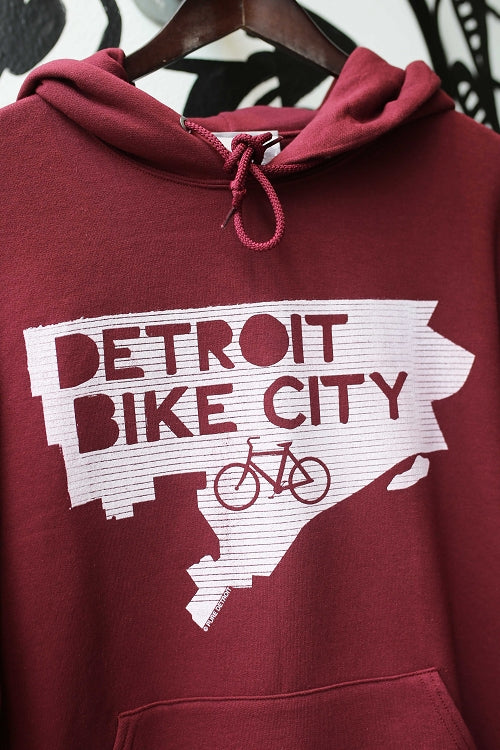 Detroit Bike City Pullover / White + Maroon / Unisex - Pure Detroit