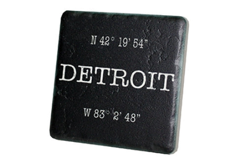 Detroit Coordinates in Black Porcelain Tile Coaster - Pure Detroit