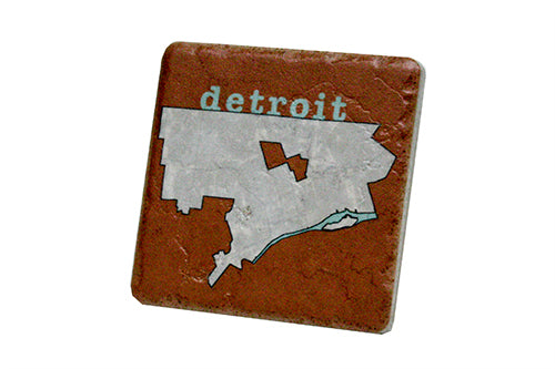Detroit City Map Outline Porcelain Tile Coaster - Pure Detroit