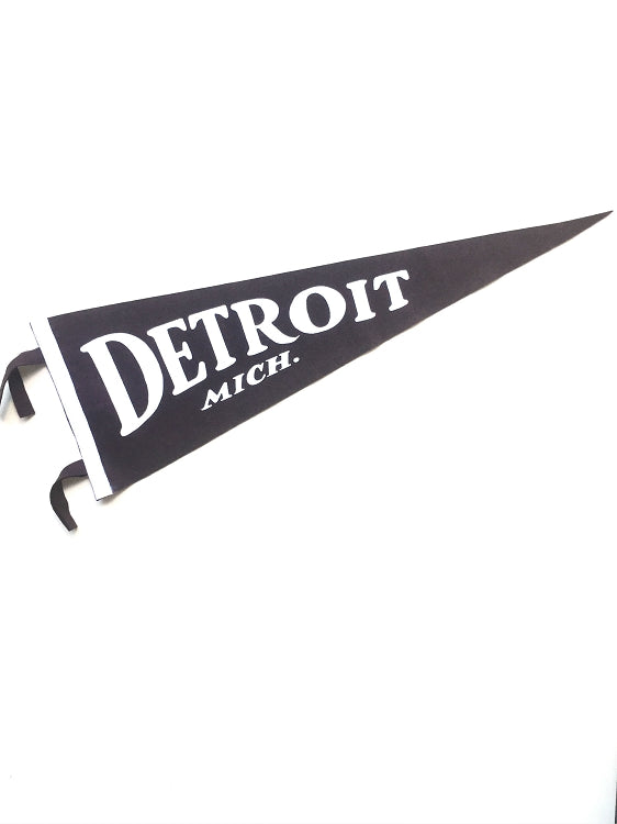 Pure Detroit x Oxford Classic Detroit, Mich. Pennant - Black - Pure Detroit