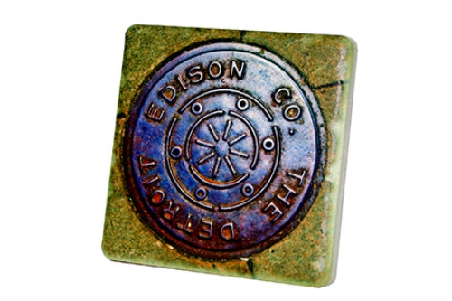 Detroit Edison Manhole Porcelain Tile Coaster - Pure Detroit