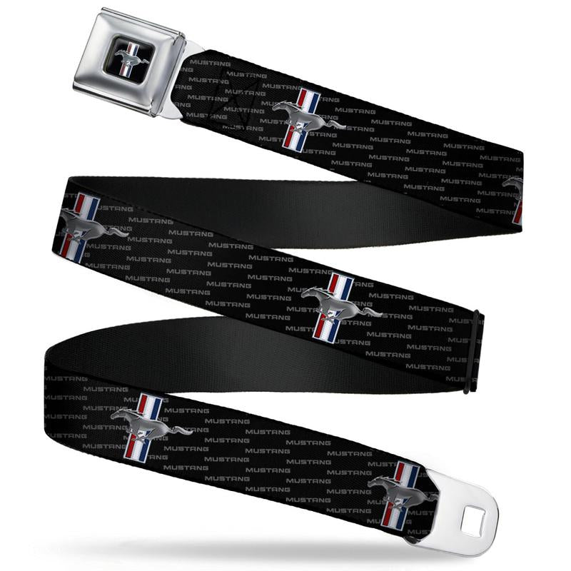 Ford Mustang Seatbelt Belt / Color Logo + Mustang Pattern Logo Webbing - Pure Detroit