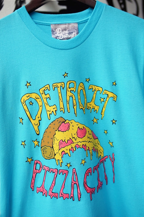 Detroit Pizza City Tee / Turquoise / Unisex - Pure Detroit