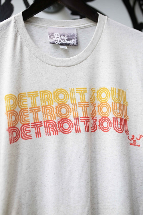 Detroit Soul Triple Stack Tee / Yellow + Red + Orange + Oatmeal / Unisex - Pure Detroit