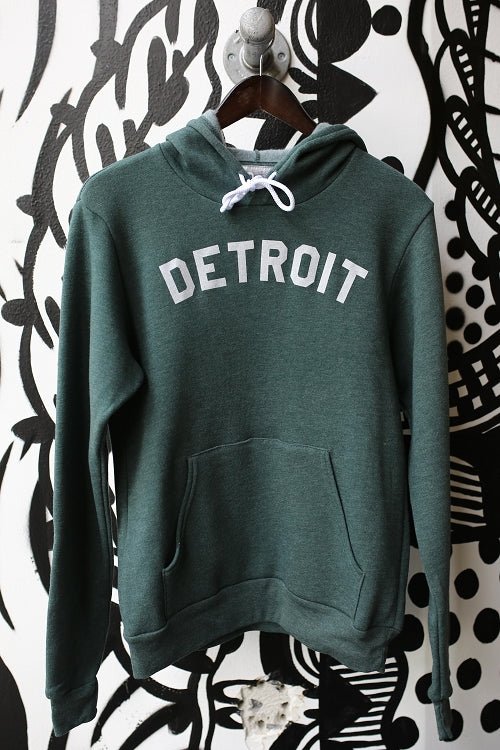 Detroit Classic Pullover / White + Forest Green / Unisex - Pure Detroit