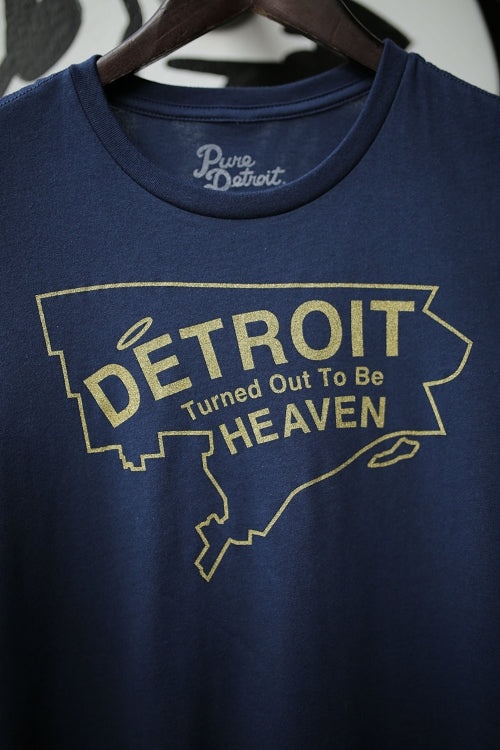 Detroit Turned Out To Be Heaven Tee / Yellow + Navy / Women's - Pure Detroit