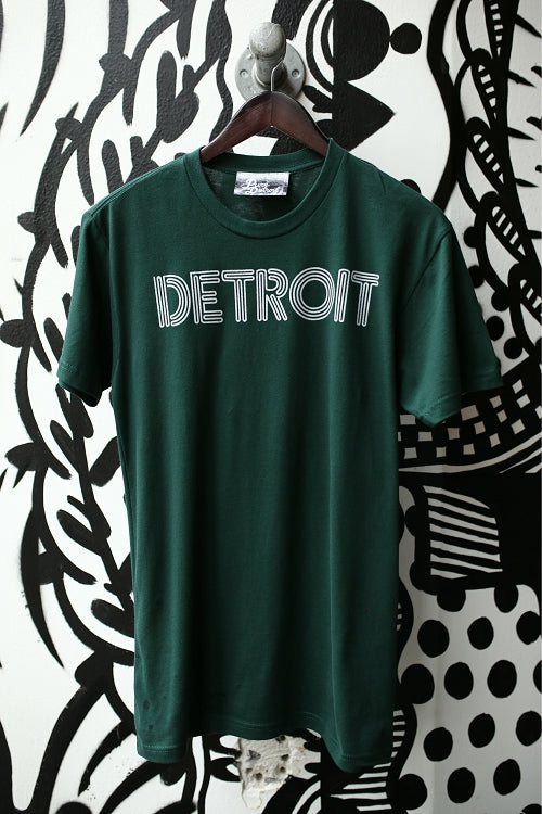 Detroit Neon Tee / White + Forest Green / Unisex - Pure Detroit