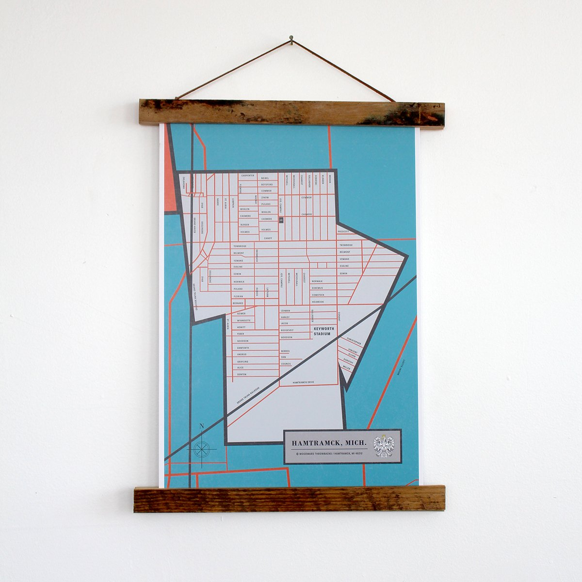 "Hamtramck Map 11"" x 17"" Print with 11"" Reclaimed Wood Poster Holder"