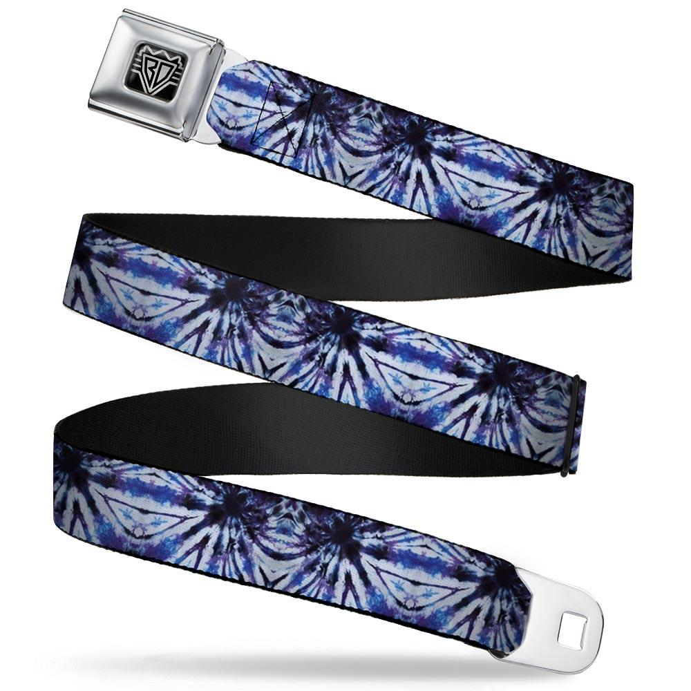 Ford Starburst Seatbelt Belt / Starburst Buckle + Blue Tie Dye Webbing