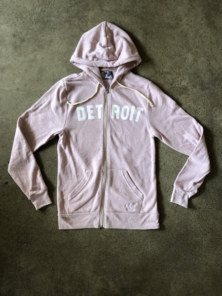 Detroit Classic Tri-Blend Zip Hoodie / White + Rose / Unisex - Pure Detroit