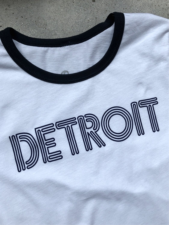 Detroit Neon Ringer Tee / Navy + White / Women's - Pure Detroit