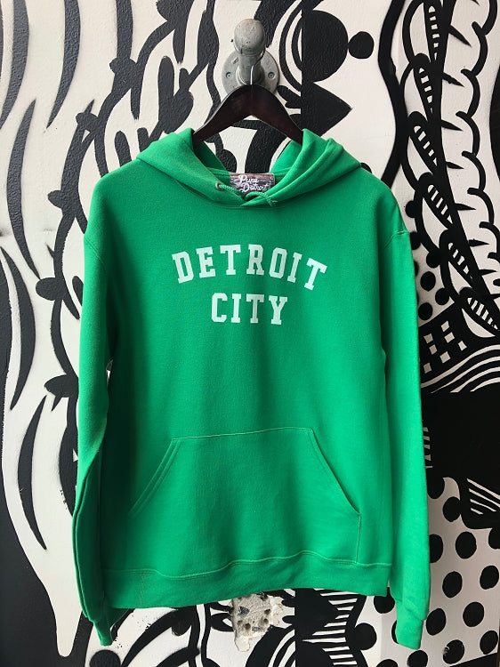 Detroit City Pullover / White + Kelly Green / Unisex - Pure Detroit