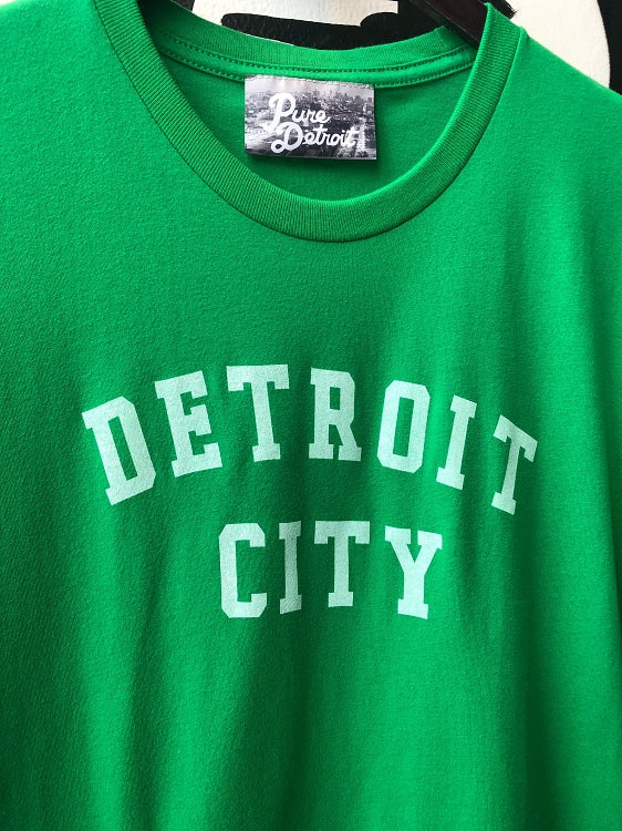 Detroit City Classic Tee / White + Kelly Green / Unisex - Pure Detroit