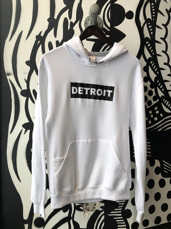 Detroit Premium Pullover Hooded Sweatshirt / Black + White / Unisex - Pure Detroit