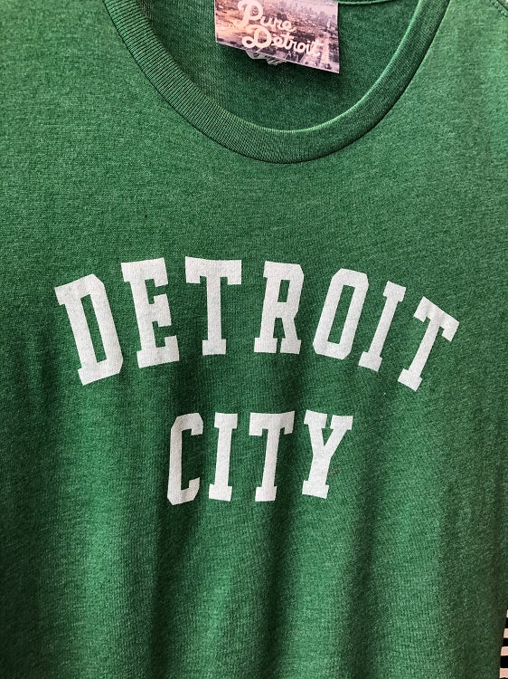 Detroit City Tee / White + Heather Grass Green /Women's - Pure Detroit