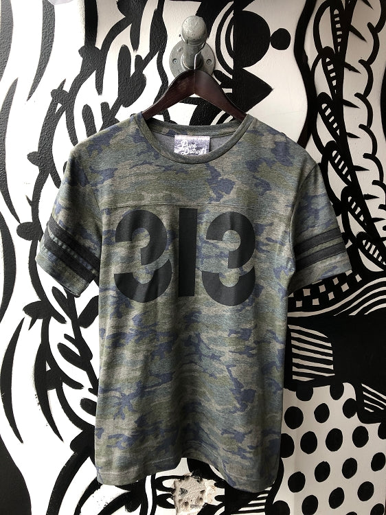 313 Football Tee / Charcoal + Vintage Camo / Unisex - Pure Detroit