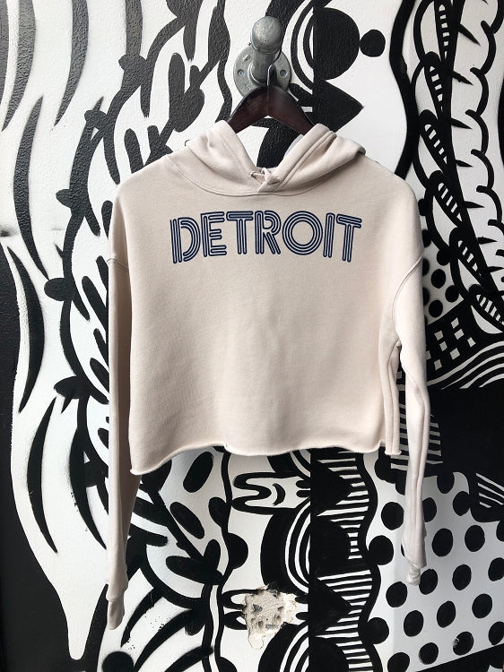 Detroit Neon Cropped Fleece Hoodie / Navy + Heather Dust / Women's