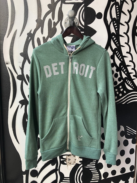 Detroit Classic Tri-Blend Zip Hoodie / White + Dusty Pine / Unisex - Pure Detroit