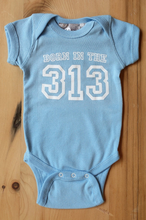 Born In The 313 Onesie / Baby Blue / Baby