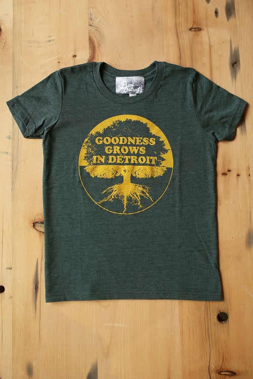 Goodness Grows in Detroit Youth Tee / Yellow + Forest Green / Youth