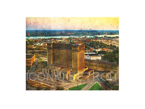 Michigan Central Station Aerial Luster or Canvas Print $35 - $430 - Pure Detroit