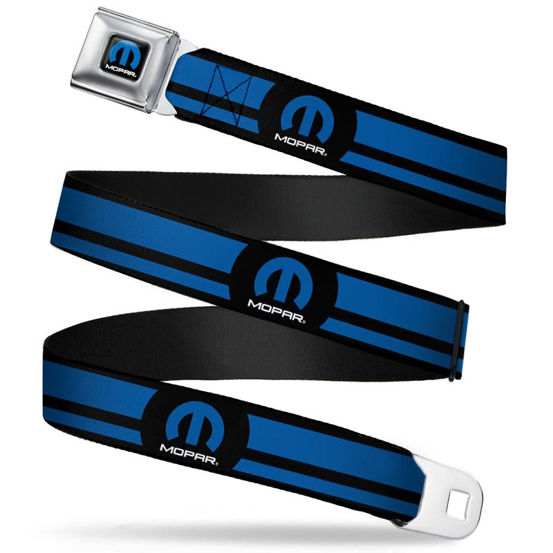 Mopar Seatbelt Belt / Color Logo + Logo Black + Blue Stripe Webbing