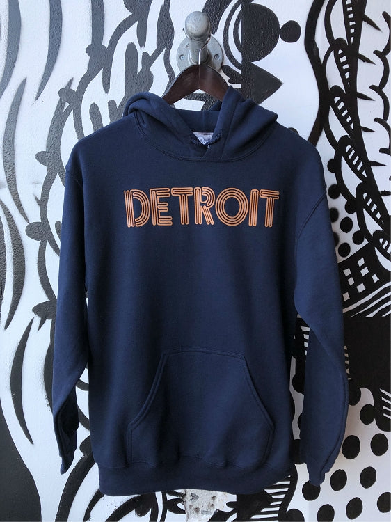Detroit Neon Pullover Hooded Sweatshirt / Orange + Navy / Unisex - Pure Detroit