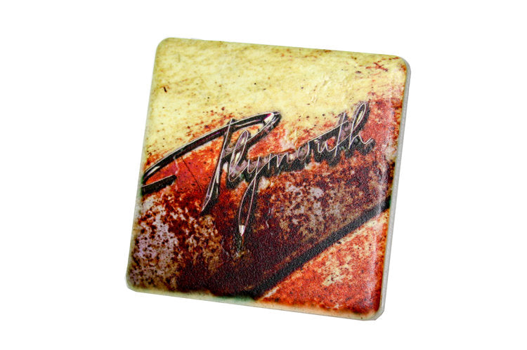 Plymouth Hood Porcelain Tile Coaster - Pure Detroit