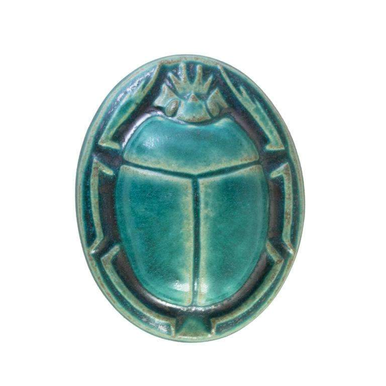 Scarab Paperweight Pewabic Tile - Glacier Gloss