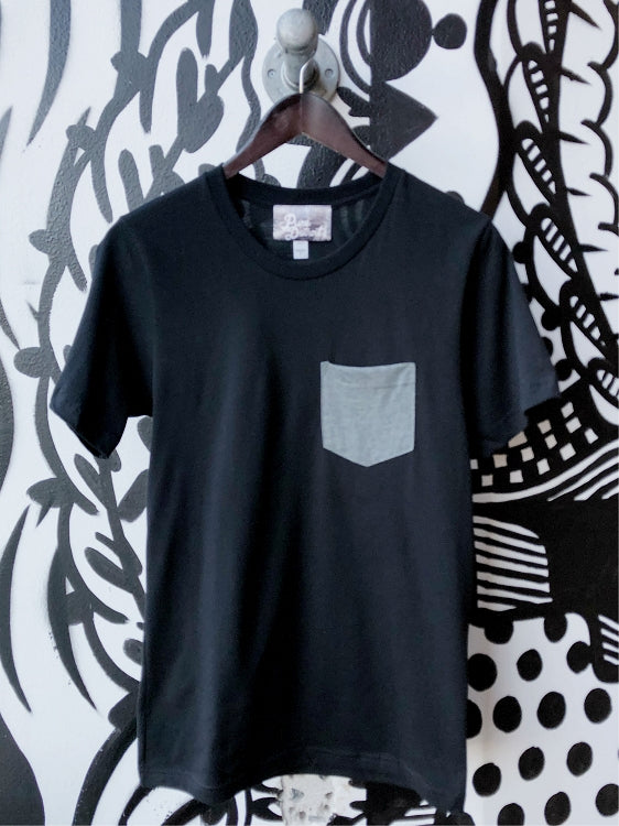 Pure Detroit Stars Pocket Tee / Gray + Black / Unisex - Pure Detroit