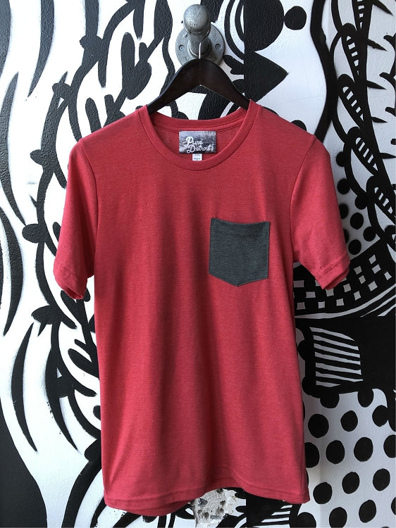 Pure Detroit Stars Pocket Tee / Gray + Red / Unisex - Pure Detroit