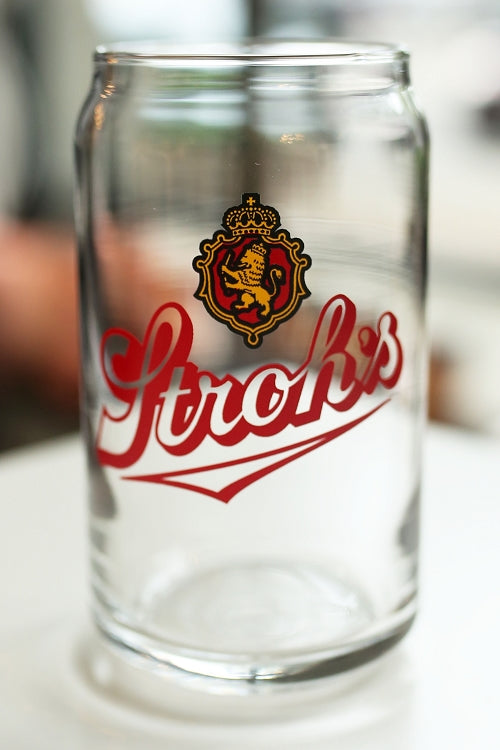 Stroh's Fire Brewed 16oz Beer Can Glass