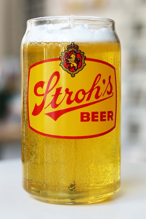 Stroh's Beer Can Glass Candle - Citron Mandarin - Pure Detroit