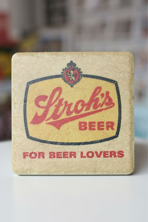 Stroh's: For Beer Lovers Porcelain Tile Coaster - Pure Detroit