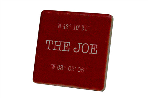 The Joe Coordinates Red Porcelain Tile Coaster - Pure Detroit