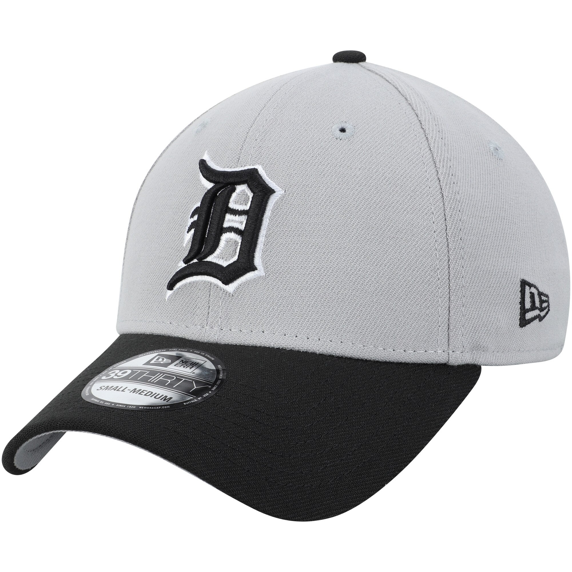 New Era Detroit Tigers Team Classic 39Thirty Stretch Fit Hat / Black + Gray - Pure Detroit